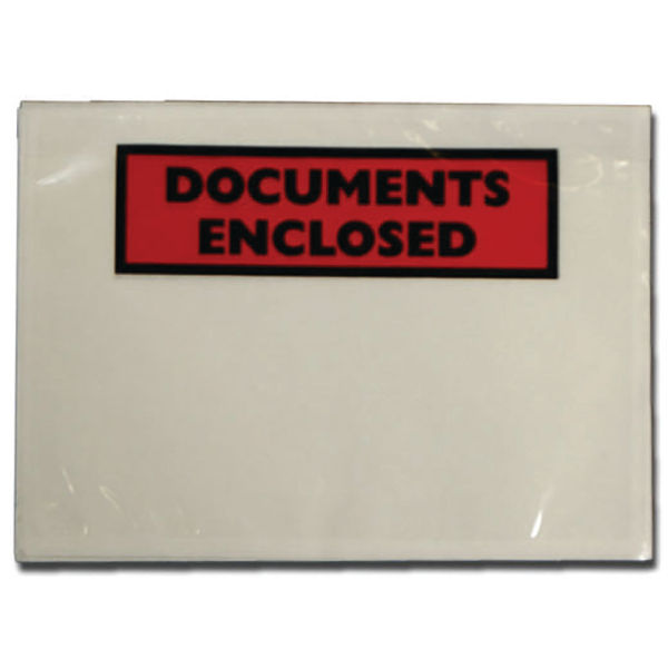 Basic Doc Enclosure Labels A7 113x100mm Printed Docs Clear Box 1000 | PLE-DOC-A7