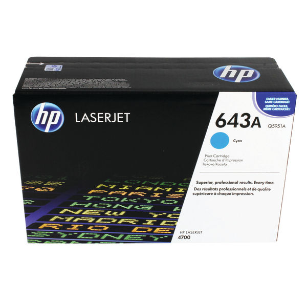 HP 643A Cyan LaserJet Toner Cartridge | Q5951A