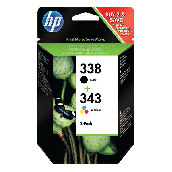 HP 338 & 343 Black and Tri-Colour Ink Cartridge Combo Pack | SD449EE