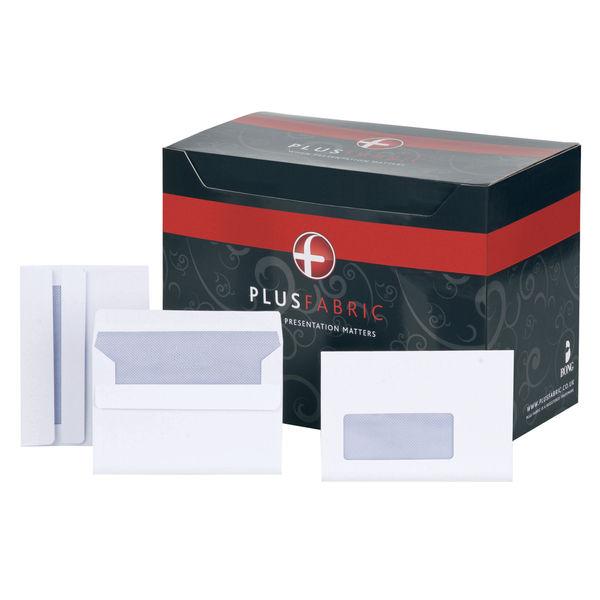 Plus Fabric C6 Window Press Seal Envelopes [500 Pack] F22670
