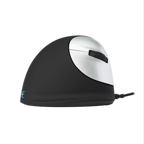 R-GO Black/Silver Large Right Handed Wired Ergonomic Mouse - RGOHELA