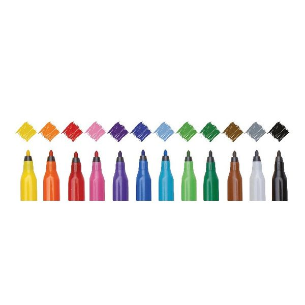 Swash Komfigrip Felt Tip Colouring Pen Fine Assorted, Pack of 12 - TW12F