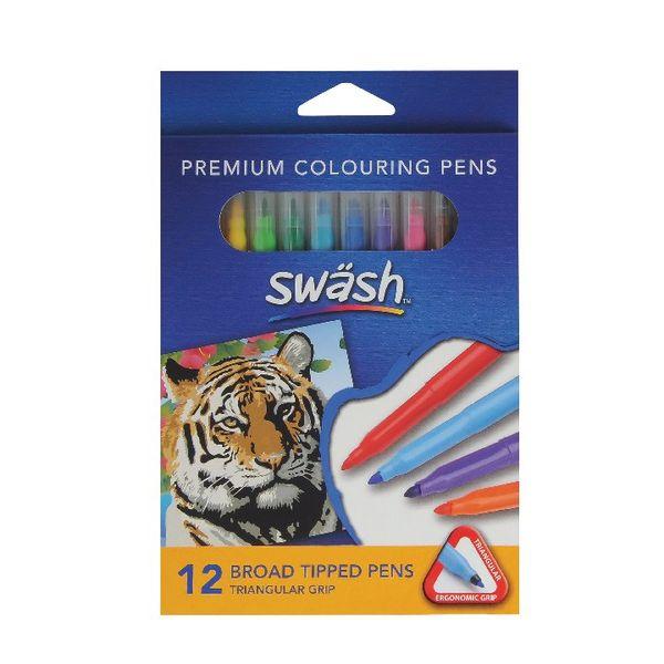Swash KOMFIGRIP Broad Tip Assorted Colouring Pens (Pk 12)