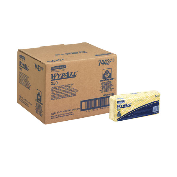 Wypall X50 Yellow Cleaning Cloths, Pack of 50 - 7443