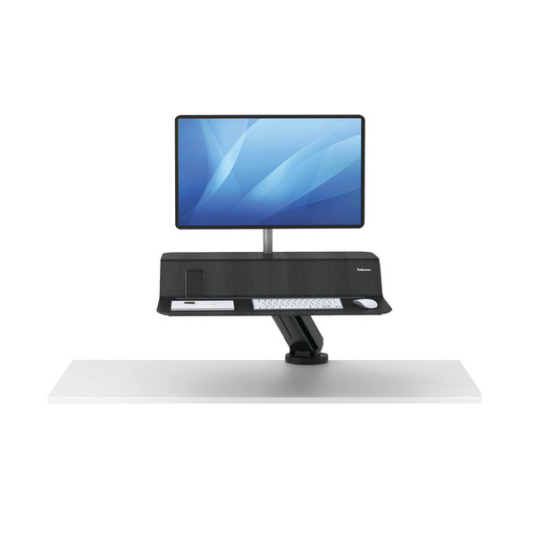 Fellowes Lotus Black Sit Stand Single Screen Work Station – 8081501