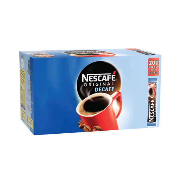 Nescafe Instant Decaffeinated Coffee One Cup Sticks, Pack of 200 - 12315595