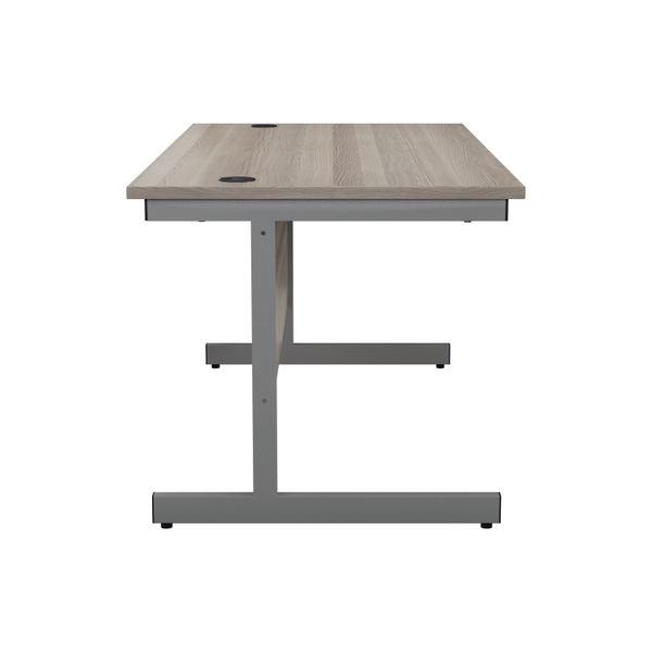 Jemini 1200x800mm Grey Oak/Silver Single Rectangular Desk