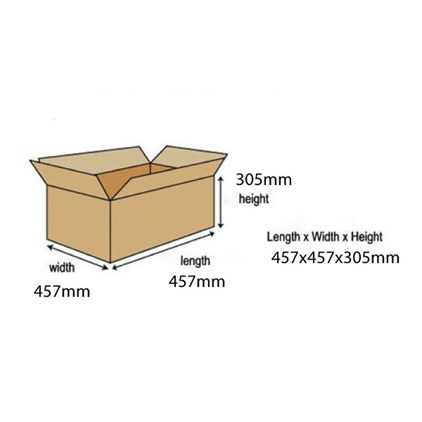 Double Wall 457mm x 457mm x 305mm Cardboard Boxes, Pack of 15 - 59189