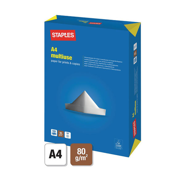 Staples A4 White Multipurpose Paper 80gsm (Box of 5 Reams) 3410820