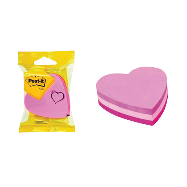 Post-it 70 x 70mm Pink Heart Notes, Pack of 12 | 2007H