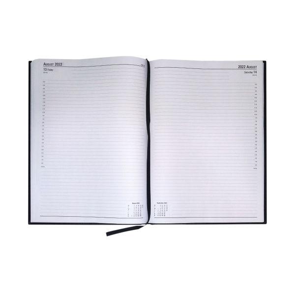 Black A4 Day Per Page 2022 Desk Diary