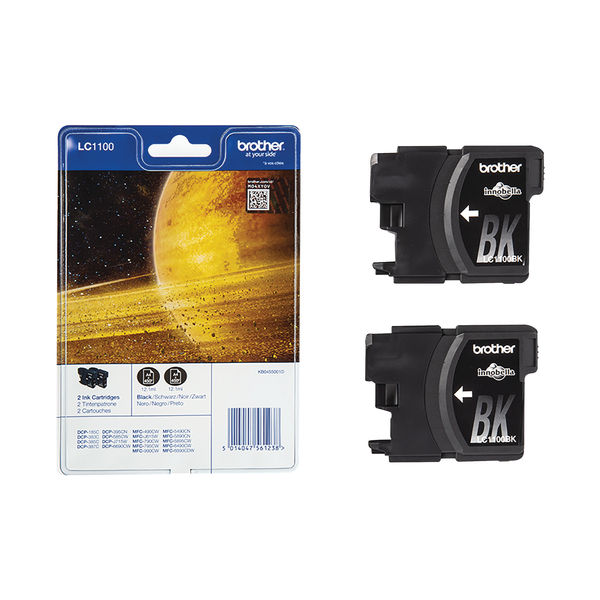 Brother LC1100 Black Ink Cartridge Twin Pack - LC1100BKBP2