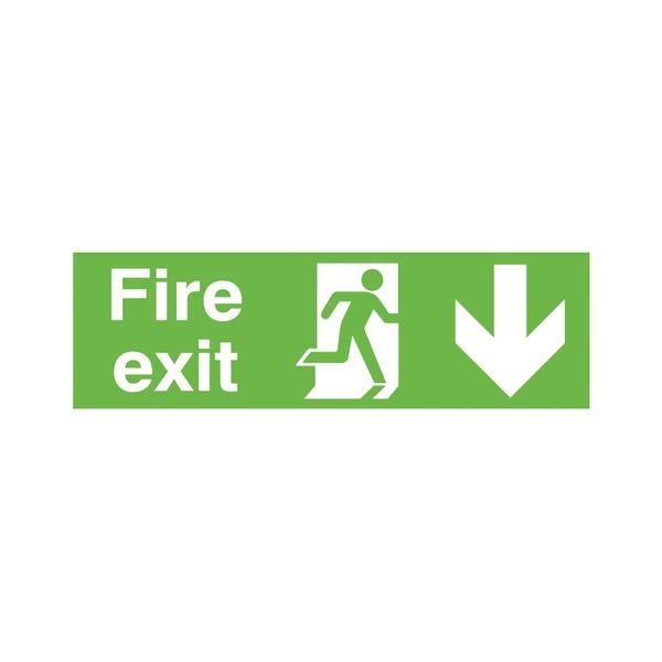 Niteglo Fire Exit Running Man Arrow Down 150 x 450mm PVC Safety Sign - FX04211M