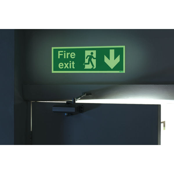 Fire Exit 150x450mm Self-Adhesive Arrow Down Niteglo Safety Sign - NG28A/S