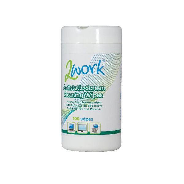 2Work Screen Cleaning Wipes Tub, Pack of 100 - AASW100TWK