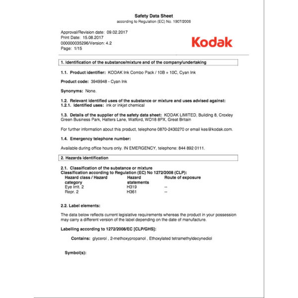 Kodak 10B & 10C Black and Colour Ink Cartridge Combo Pack - KD94994