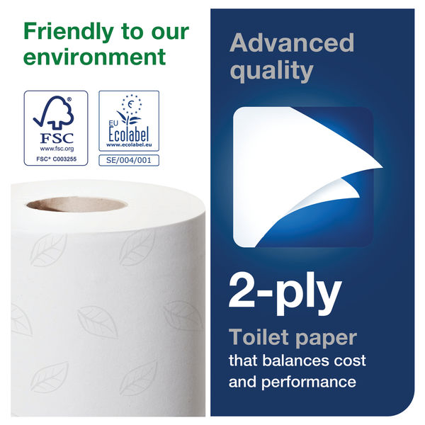 Tork T4 White 2-Ply 320 Sheet Conventional Toilet Rolls, Pack of 36 - 100320