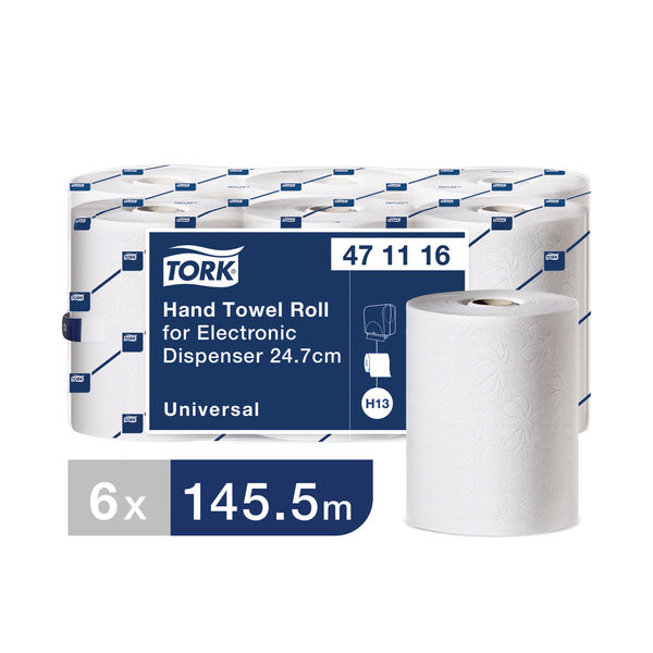 Tork Electronic White 1-Ply Hand Towel Rolls, Pack of 6 - 471116