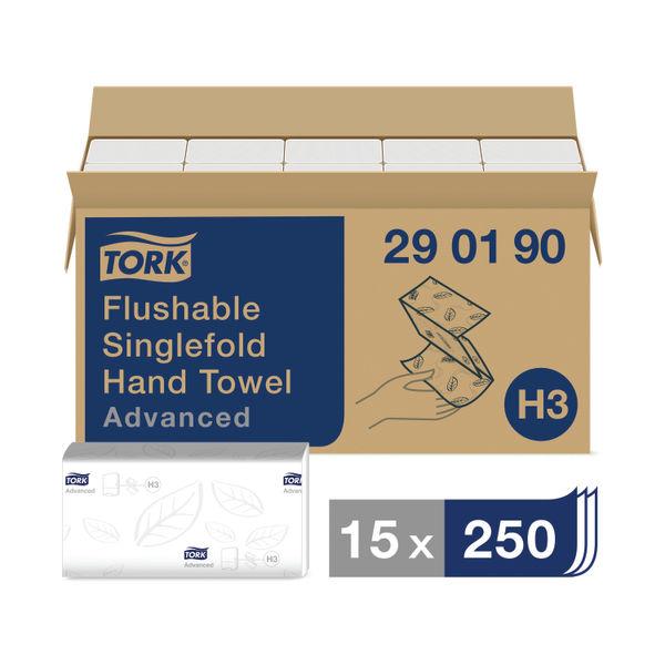 Tork H3 White Flushable Singlefold Hand Towels, Pack of 15 - 290190