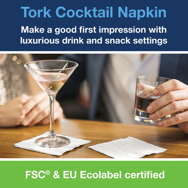Tork Cocktail Napkins 2-Ply White (Pack of 200) 477534