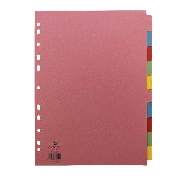 Concord A4 Plain Tabs, Assorted Colours 10 Part Index Divider - 72099/J20