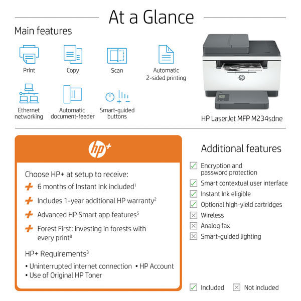 HP LaserJet M234sdne All-in-One Colour Printer with 6 months of Instant Ink with HP PLUS