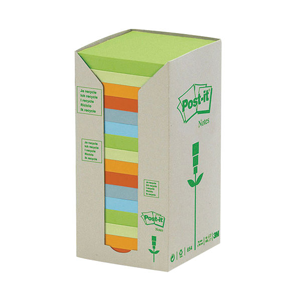 Post-it 76 x 76mm Pastel Rainbow Recycled Notes, Pack of 16   654-1RPT