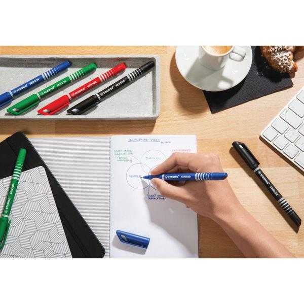 STABILO Black Sensor Fineliner Pens, Pack of 10 - 189/46