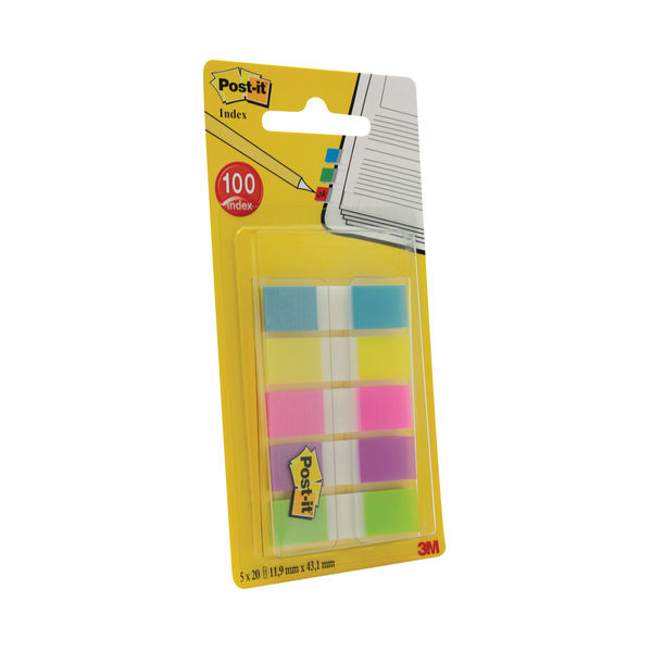 Post-it 12mm Assorted Index Flags, Pack of 100 - 684-5CBINDEX