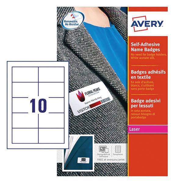 Avery Self Adhesive Name Badge 10 Per Sheet Wht (Pack of 200) L4785-20