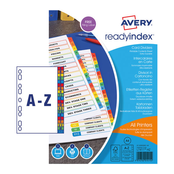 Avery Mylar Readyindex A-Z Punched 02003501