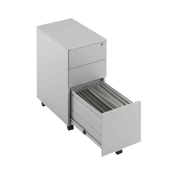 First 615mm Silver 3 Drawer Slimline Under Desk Pedestal