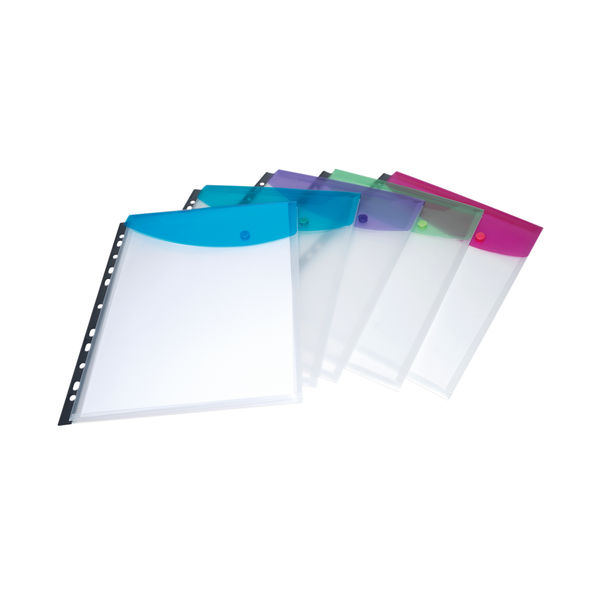 Rapesco Ring Binder Popper Wallet A4 Assorted (Pack of 5) 1630