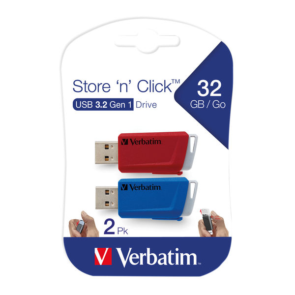 Verbatim Store and Click USB 3.2 32GB (Pack of 2) 49308