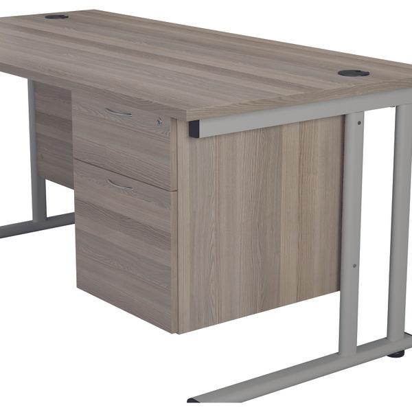 Jemini 655 Grey Oak 2 Drawer Fixed Pedestal