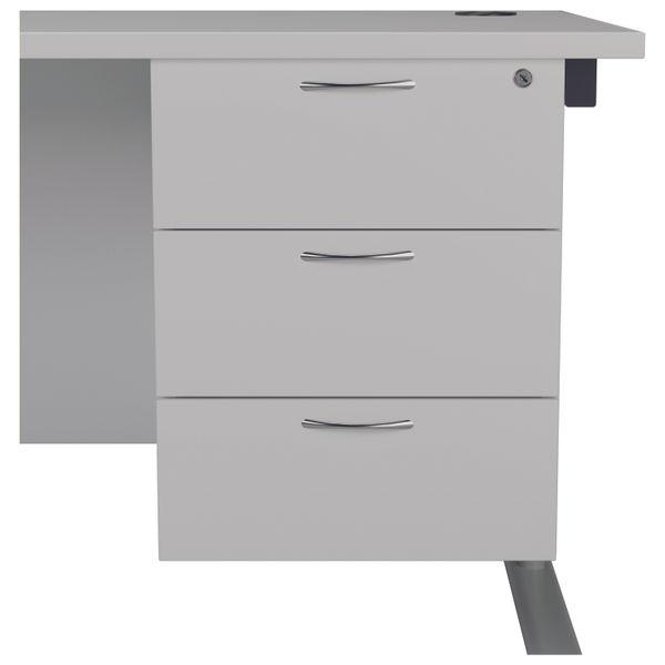 Jemini 655 White 3 Drawer Fixed Pedestal
