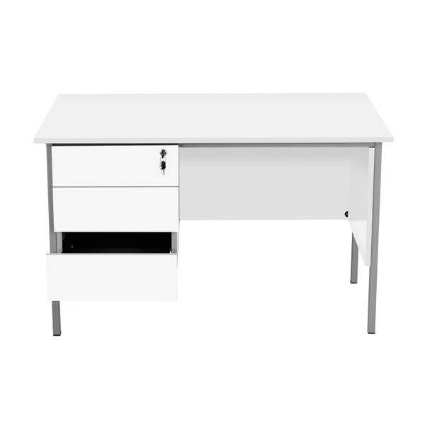 Serrion 1200mm White 3 Drawer 4 Leg Rectangular Desk