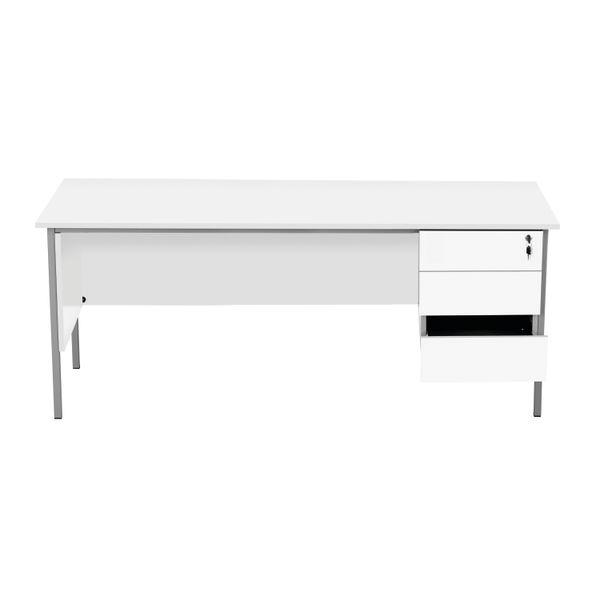 Serrion 1800mm White 3 Drawer 4 Leg Rectangular Desk