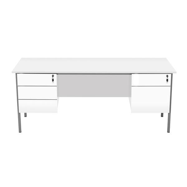 Serrion 1800mm White Double Pedestal 4 Leg Rectangular Desk