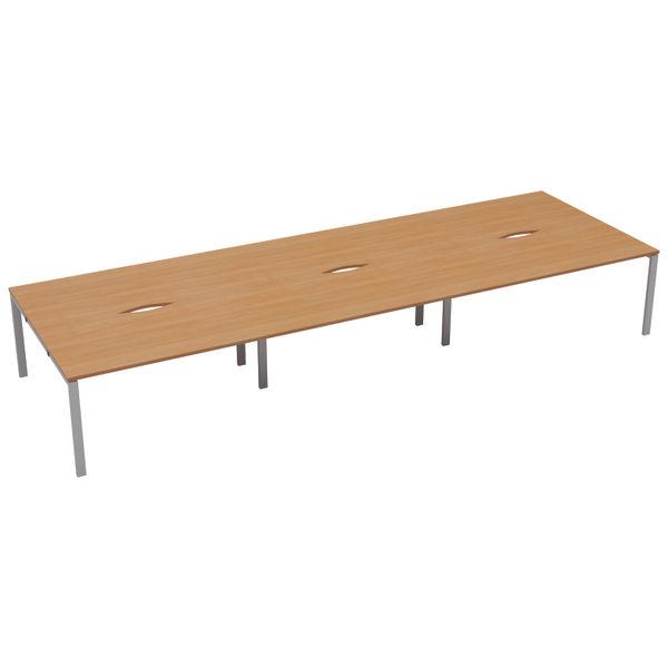 Jemini 1400mm Beech/White Six Person Bench Desk