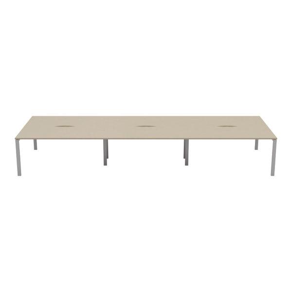 Jemini 1400mm Maple/White Six Person Bench Desk