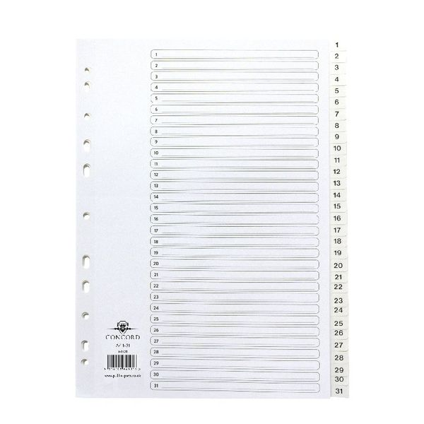 Concord A4 Polypropylene 1-31 Numbered Tabs Index Dividers - 64501