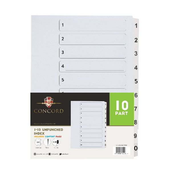 Concord A4 Unpunched Presentation 1-10 Index Dividers (Pack of 10) 75201