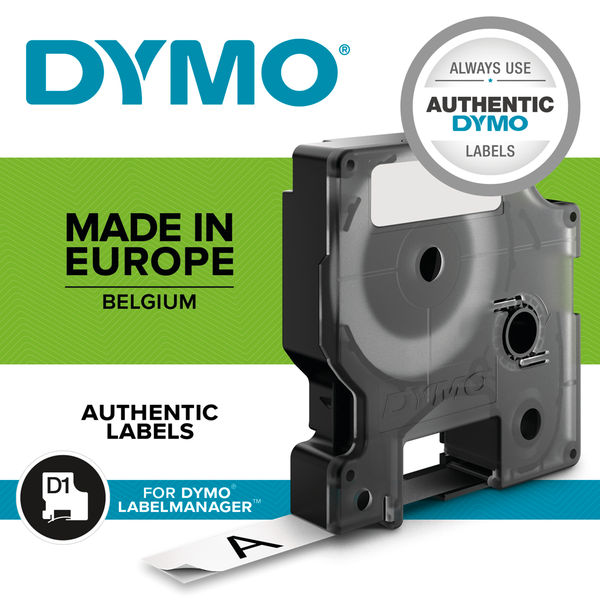 Dymo 45010 D1 LabelMaker Tape 12mm x 7m Black on Clear S0720500