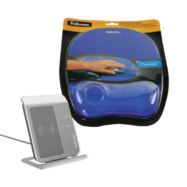 Fellowes Memory Foam Mouse Pad/Wrist Rest Transparent Blue