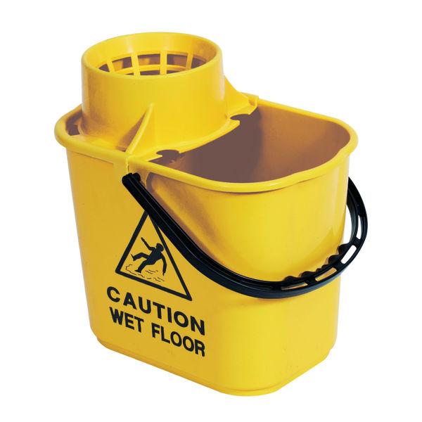 2Work Plastic Mop Bucket, Yellow, 15 Litre | 102946YL