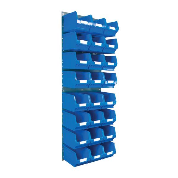 Barton Wall Mounted Bin Kit 2 Panels 24 Blue Containers 010206B