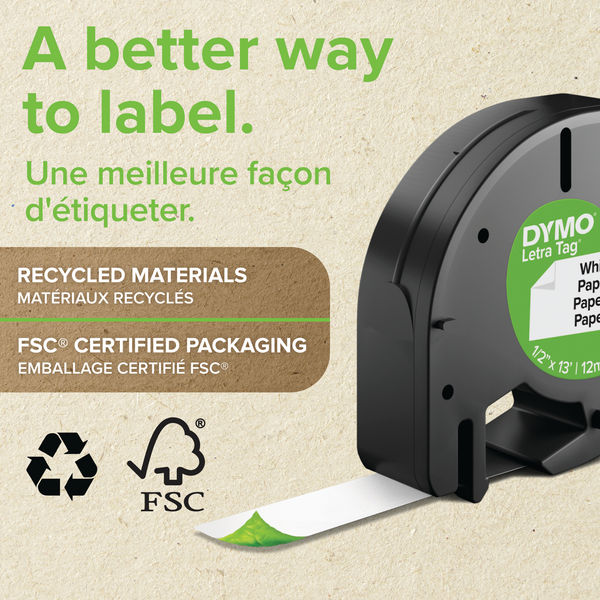 Dymo LetraTag Paper Label Tape - Black on White - 91200