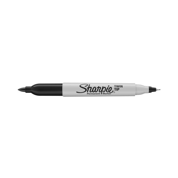 Sharpie Black Twin Tip Permanent Markers, Pack of 12 - S0811100