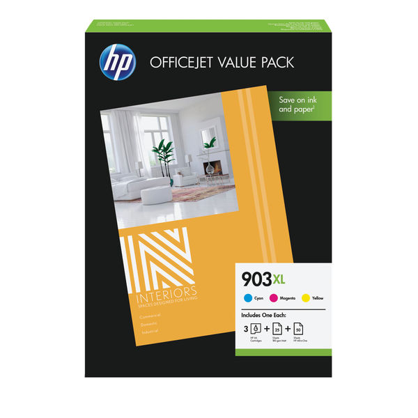 HP 903XL Office Value Pack, 3 Colour Multipack and A4 Paper | 1CC20AE